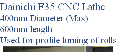 Dainichi F35 CNC Lathe 400mm Diameter (Max) 600mm length Used for profile turning of rolls